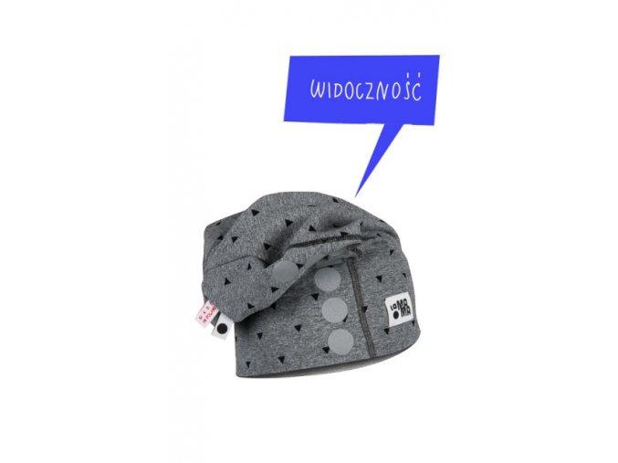 Bavlněná čepice s reflexním potiskem - tmavě šedá