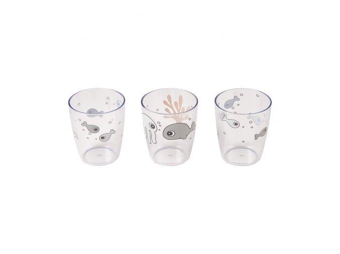 Sea Friends mini skleničky 3ks- šedá/hořčicová