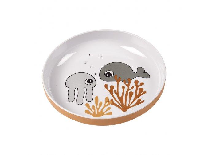 Talíř Sea Friends Yummy - šedá/hořčicová