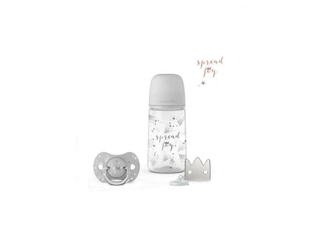 Joy SADA 270ml + DUDLÍK FYZIOLOGICKÝ 0/6M + KLIP - stříbrná