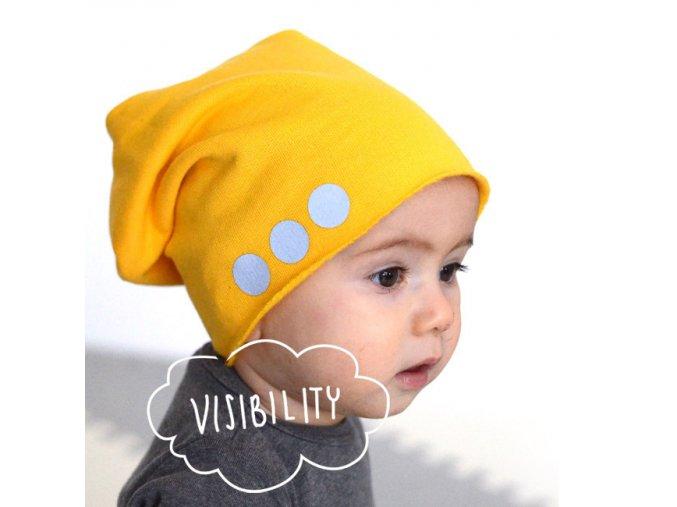 Bavlněná čepice s reflexním potiskem - žlutá