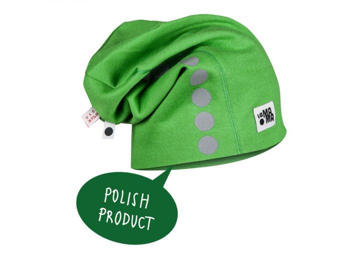 Bavlněná čepice s reflexním potiskem - zelená