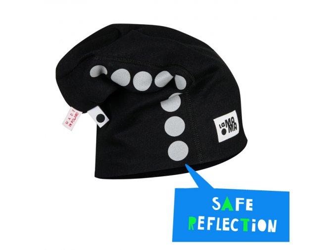 Bavlněná čepice s reflexním potiskem - černá