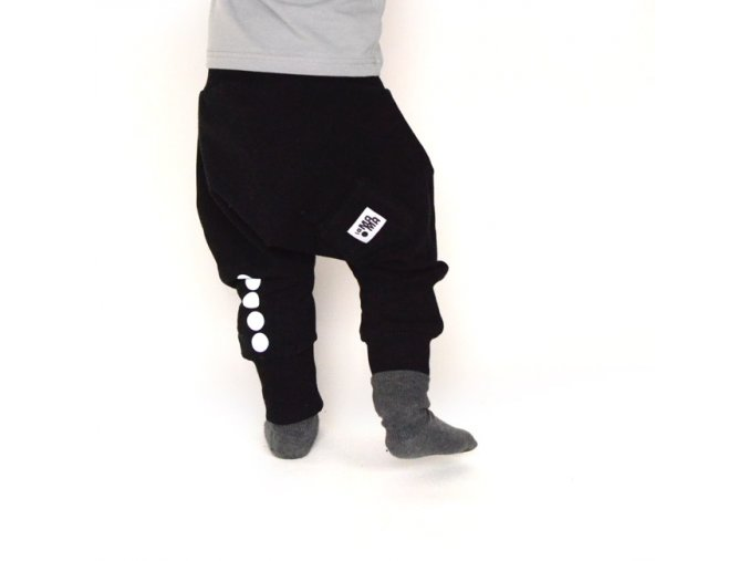 Kalhoty bavlněné s reflexním potiskem -  černé