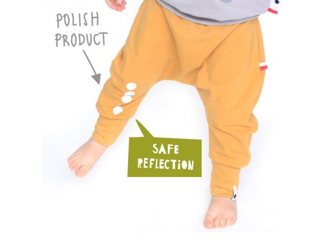 Kalhoty bavlněné s reflexním potiskem -  hořčicové