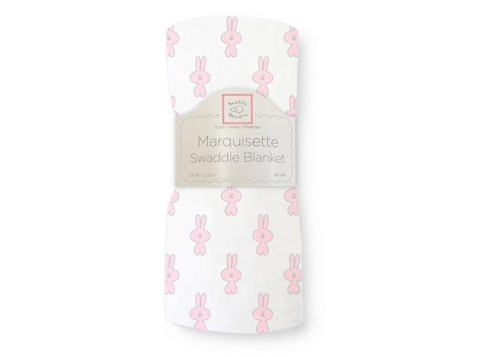 Hedvábná zavinovací plenka velká - Little Bunnie Pastel pink