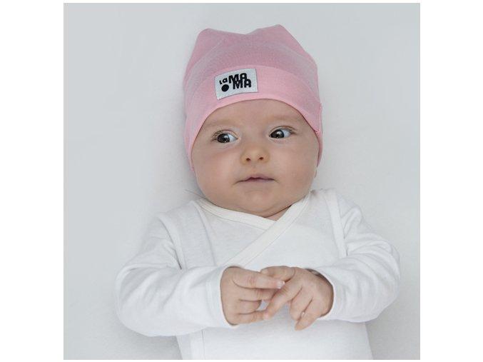 Bavlněná čepice Newborn - růžová