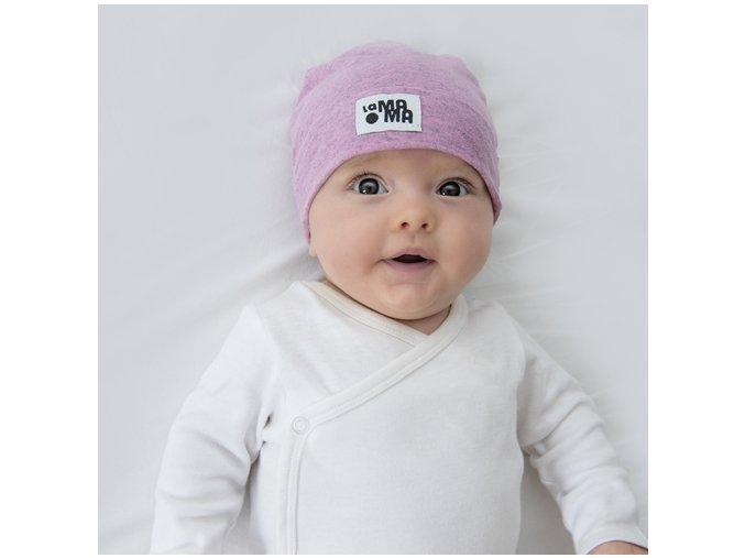 Bavlněná čepice Newborn - pastelová melírovaná