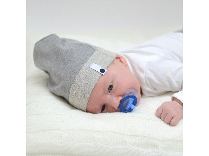 Bavlněná čepice Newborn - šedá melírovaná
