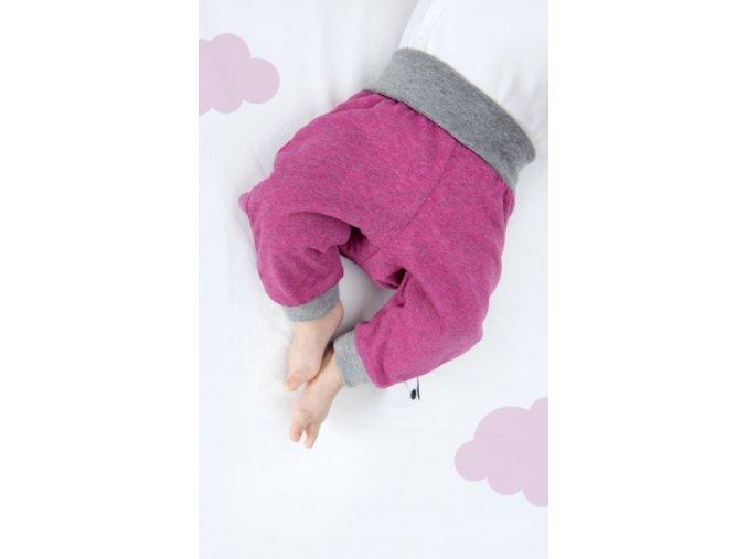 Kalhoty newborn - růžové melírované