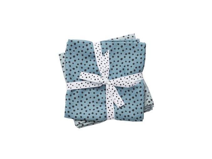 Mušelínové plenky Happy dots 2ks - modré