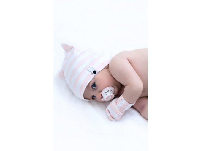 5799 50cnb0805 czapka new born osito stripes pink 1 2