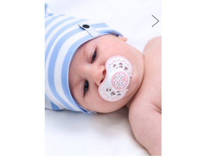 Nube Bavlněná čepice Newborn s oušky - modrý proužek