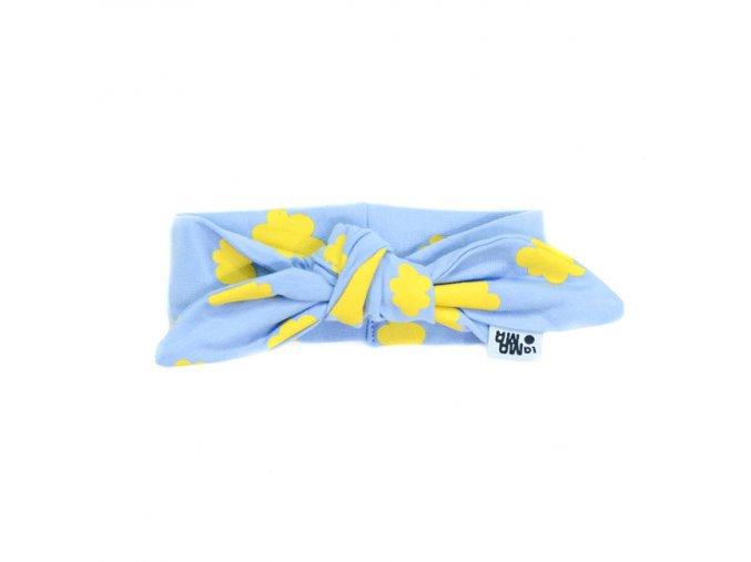 Nube Pin-up čelenka bavlněná - modrá s mráčky