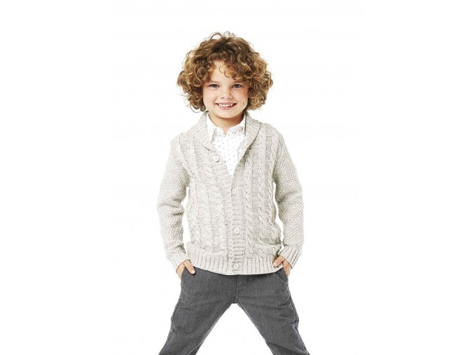 Pletený svetr na knoflíky - šedý melírovaný