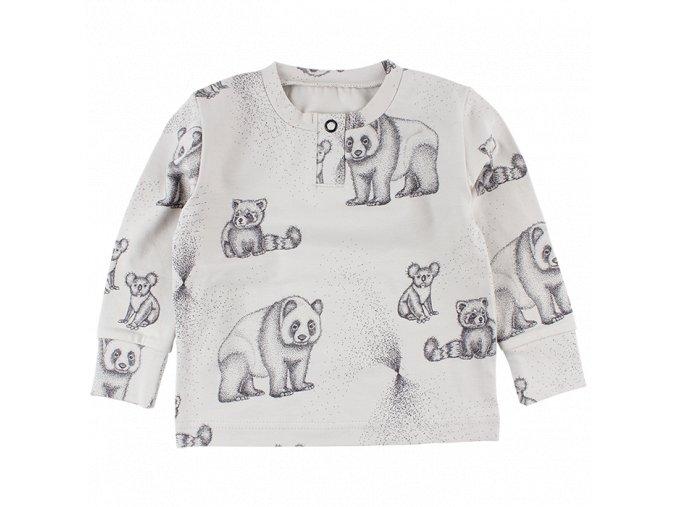Elemental triko z certifikované bio bavlny s ručně kresleným motivem - ecru
