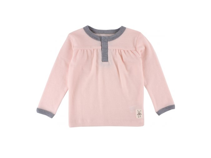 Vlněné triko Small rags  s dlouhým rukávem - lososové melírované