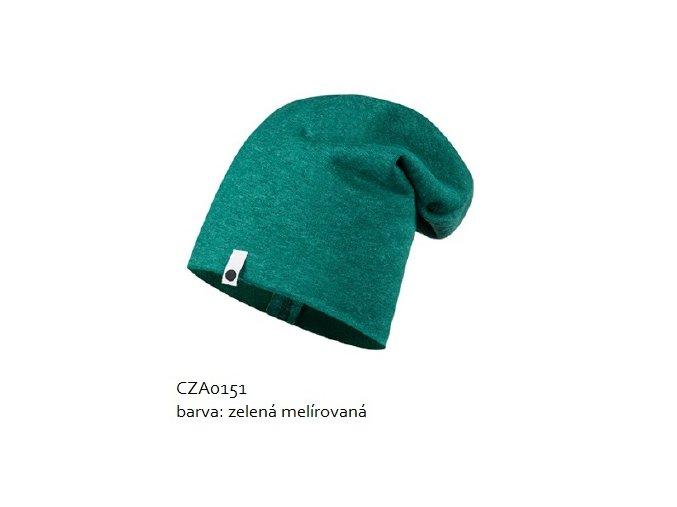 Bavlněná čepice - zelená melírovaná
