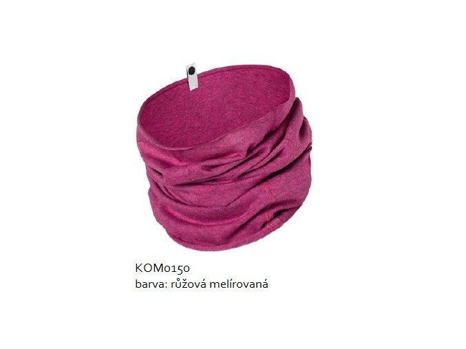 Komínkový šál - růžový melírovaný