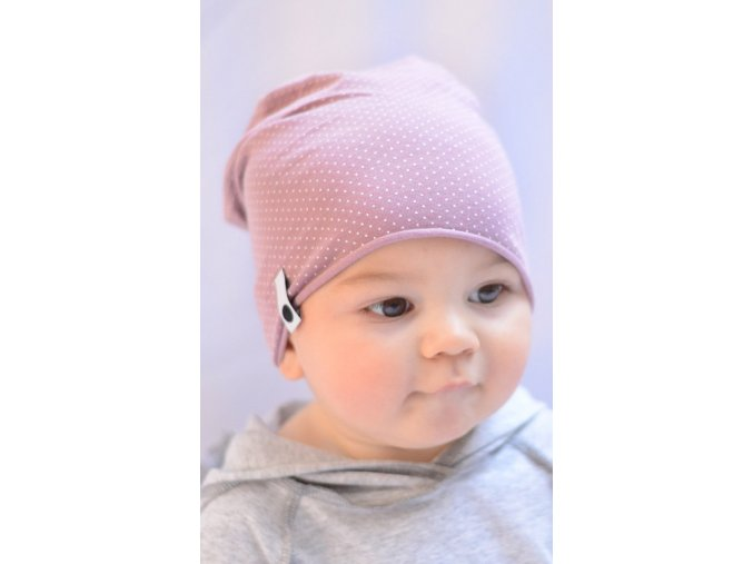 Letní čepice - růžová malý puntík