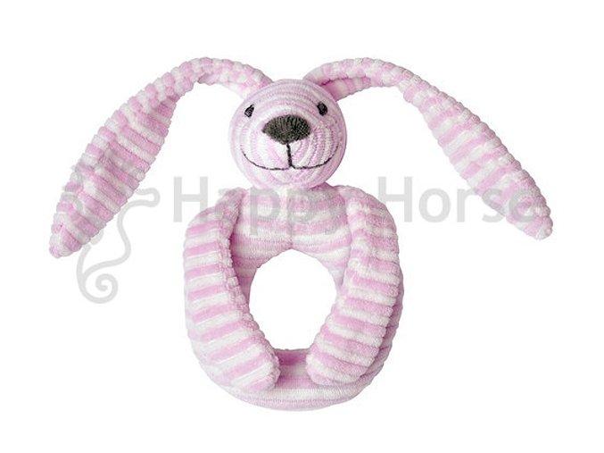 Růžový pruhovaný králíček Reece - chrastítko