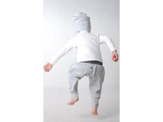 Kalhoty bavlněné (jaro/léto) - šedé melírované