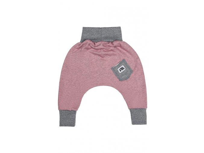 Kalhoty bavlněné (podzim/zima) - pudrové melírované