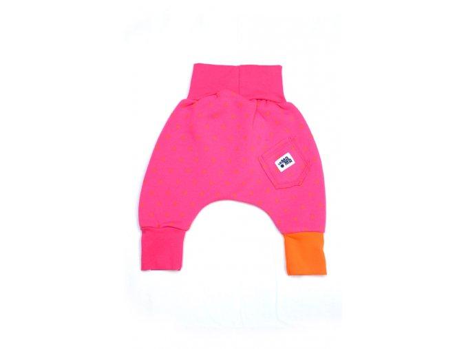 Kalhoty bavlněné (podzim/zima) - růžové s potiskem