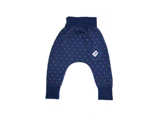 Kalhoty bavlněné (podzim/zima) - modré s potiskem