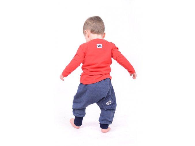 Kalhoty bavlněné (podzim/zima) - granátové melírované