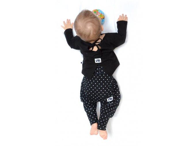 Kalhoty bavlněné (podzim/zima) - černé s puntíky