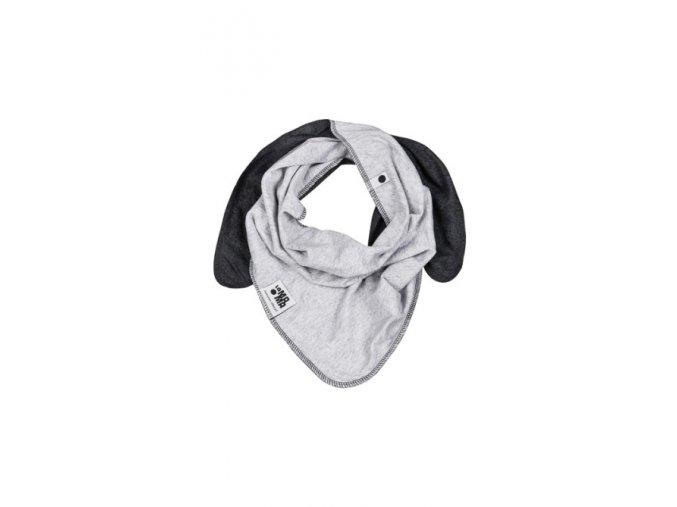 Oboustranný bavlněný šátek - šedá/grafitová