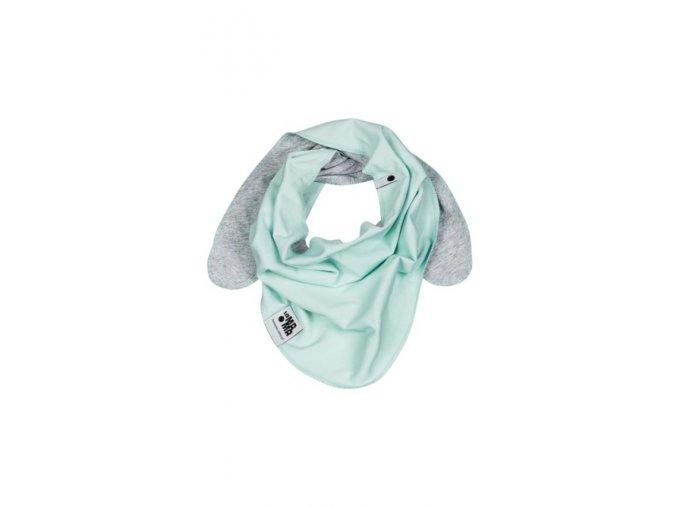 Oboustranný bavlněný šátek - mátová/šedá