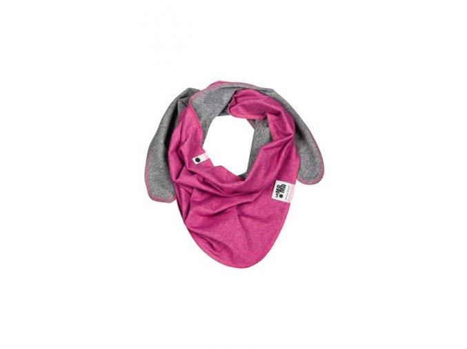 Oboustranný bavlněný šátek - růžový melírovaný