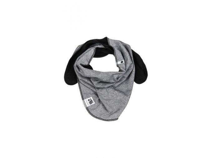 Oboustranný bavlněný šátek - tmavě šedý