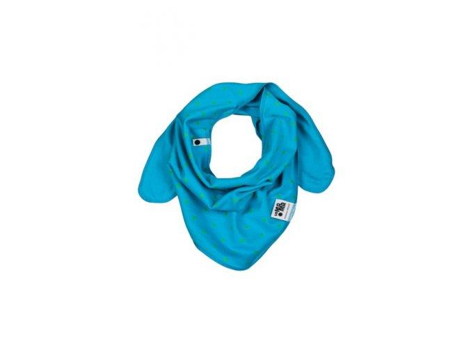 Oboustranný bavlněný šátek - tyrkysový s potiskem