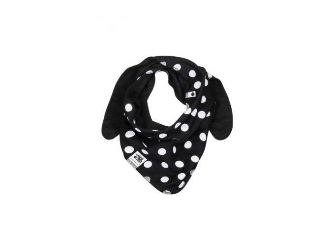 Oboustranný bavlněný šátek - černý s puntíky