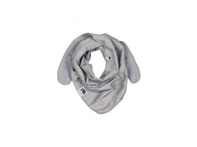 Oboustranný bavlněný šátek - popelavý s potiskem