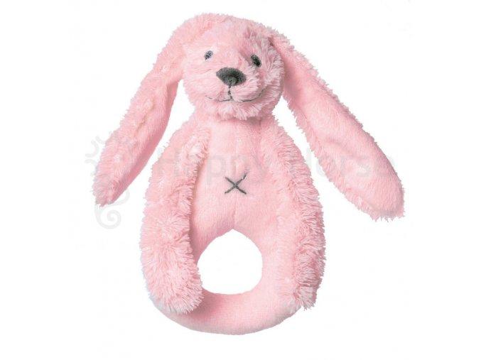 Růžový králíček Richie - chrastítko