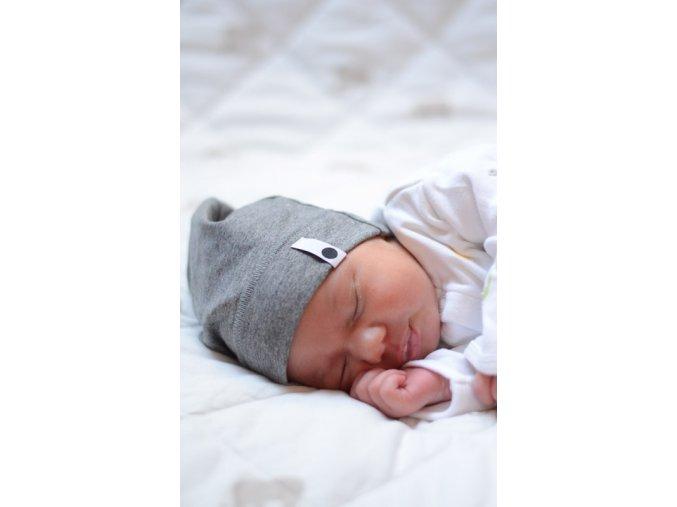 Bavlněná čepice Newborn - tmavě šedá
