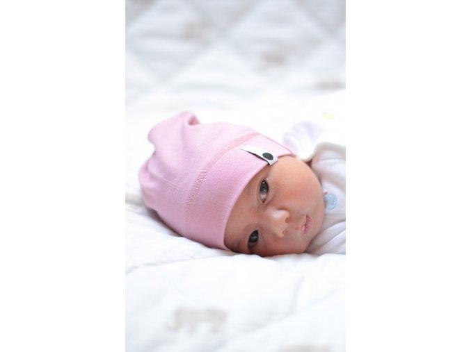 Bavlněná čepice Newborn - pudrová