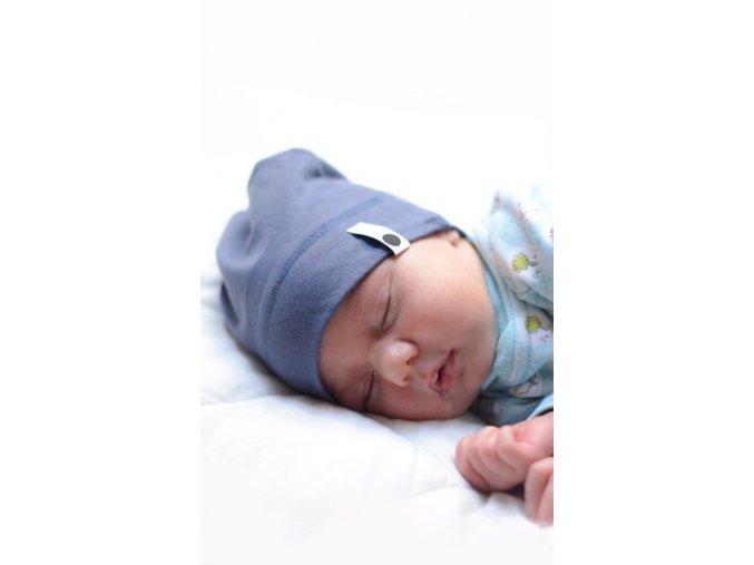 Bavlněná čepice Newborn - špinavá modř
