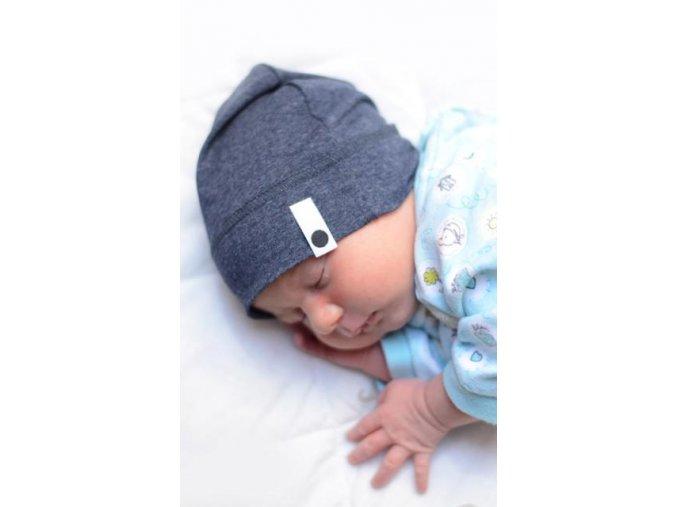 Bavlněná čepice Newborn - granátová melírovaná