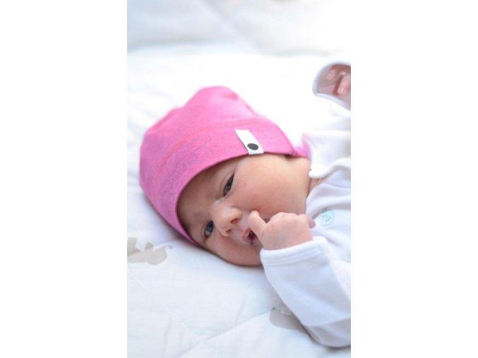Bavlněná čepice Newborn - růžová melírovaná