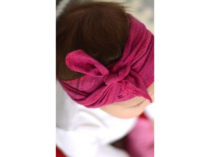 Pin-up čelenka bavlněná - růžová melírovaná
