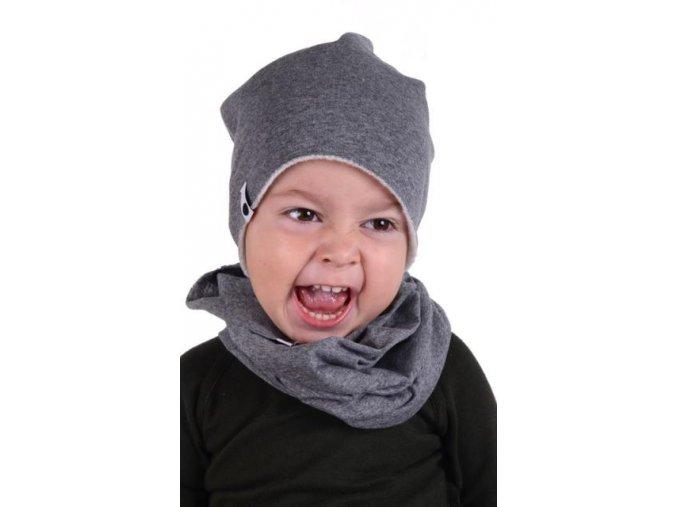 Komínkový šál - tmavě šedý melírovaný