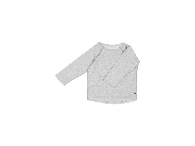 Bavlněná mikina/triko - světle šedá melírovaná