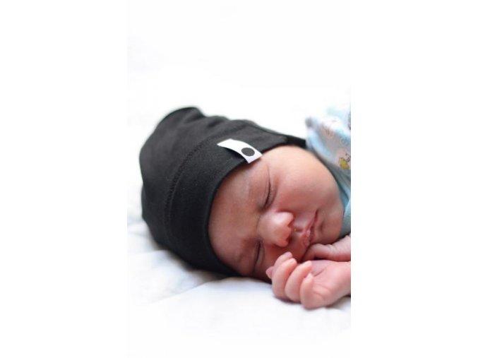 Bavlněná čepice Newborn - černá