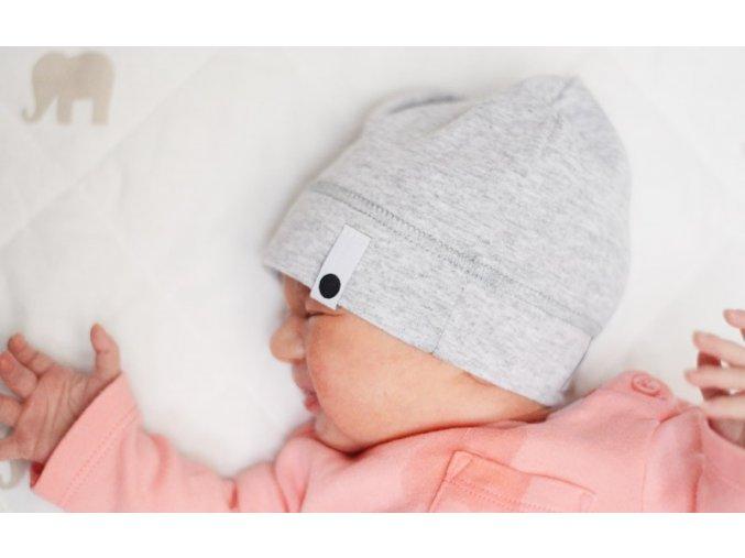 Bavlněná čepice Newborn - světle šedá melírovaná