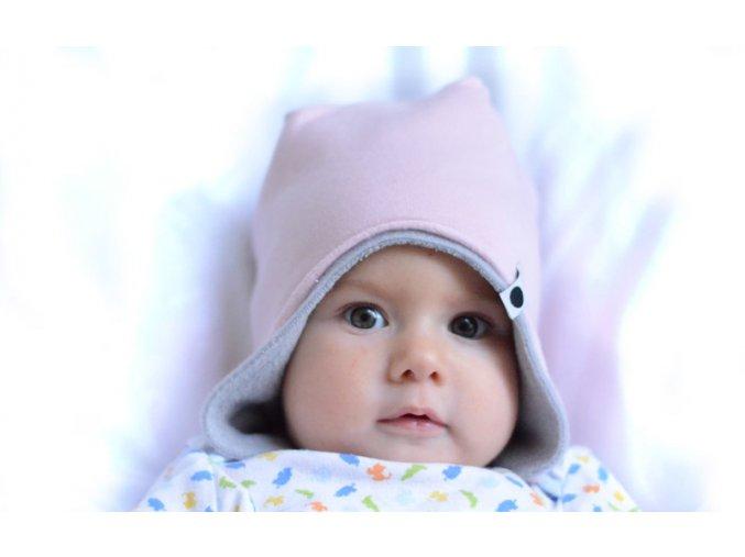 Oboustranná bavlněná zimní čepice - pudrová/popelavá